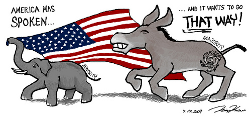 Democrat donkey versus Republican elephant